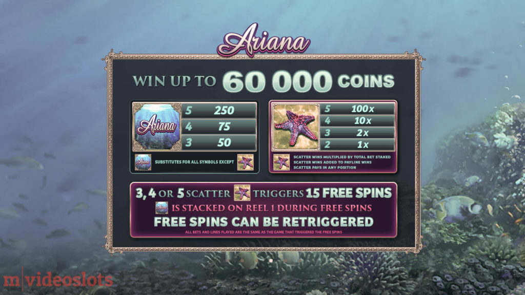 Ariana Microgaming Mobile Video Slot - paytable 2