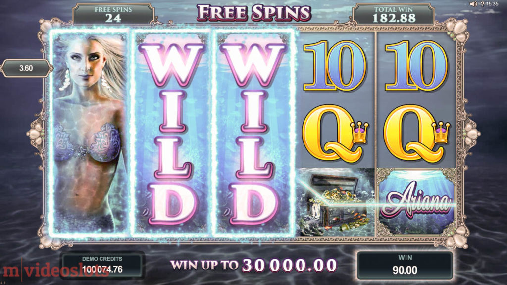 Ariana Microgaming Mobile Video Slot - Free Spins feature win with Expanding Wilds