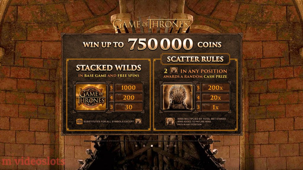 Game of Thrones Mobile Video Slot 15 Lines - paytable 1