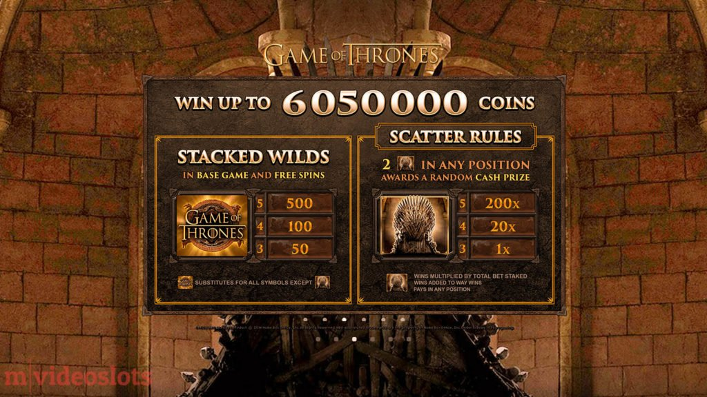 Game of Thrones Microgaming Mobile Video Slot 243 Ways - paytable 1