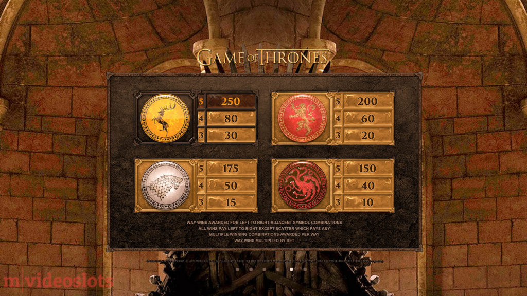 Game of Thrones Microgaming Mobile Video Slot 243 Ways - paytable 3