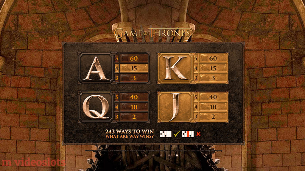 Game of Thrones Microgaming Mobile Video Slot 243 Ways - paytable 4