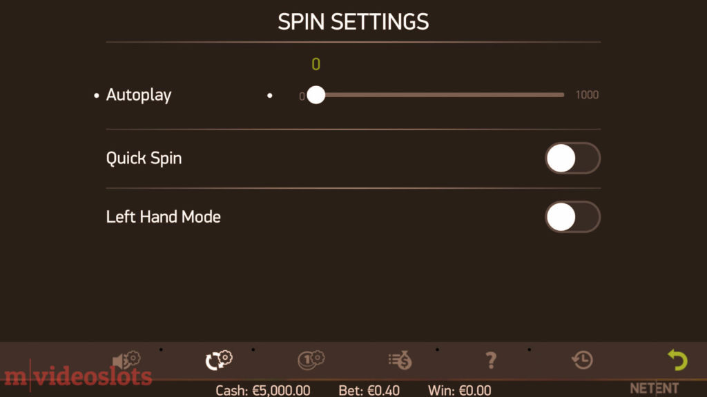 Stickers NetEnt Mobile Video Slot - Spin Settings