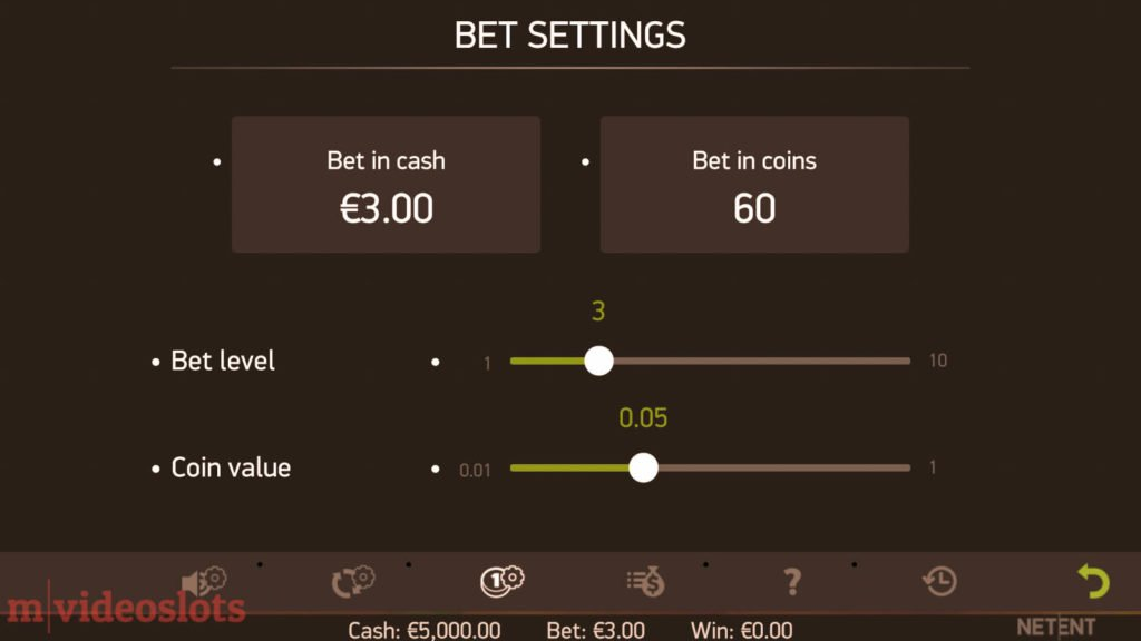 Stickers NetEnt Mobile Video Slot - Bet Settings