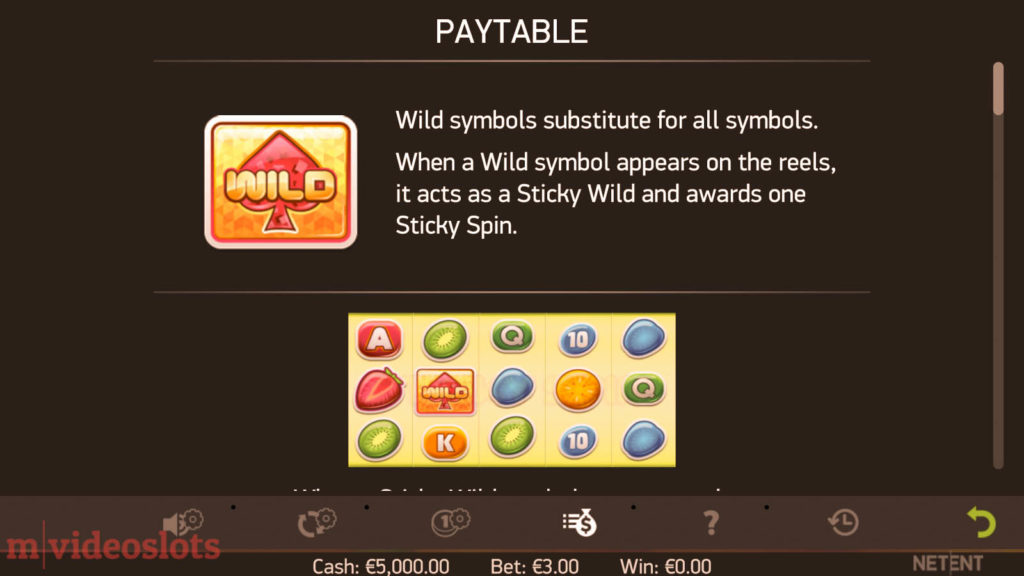 Stickers NetEnt Mobile Video Slot - paytable 1