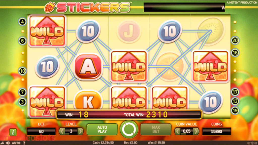 Stickers mobile slot Sticky Wilds in action.