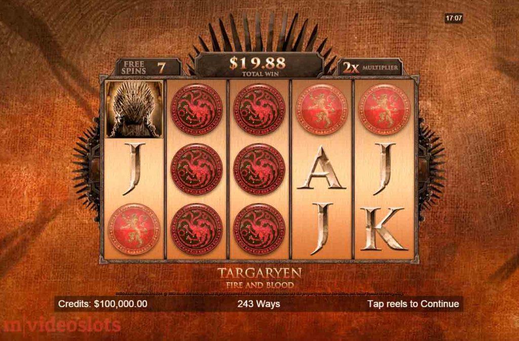 Game of Thrones Targaryen Free Spins.