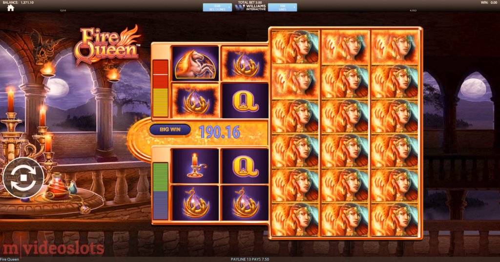 Fire Queen Williams Interactive (SG Interactive) mobile video slot - Fire Queen symbols everywhere!
