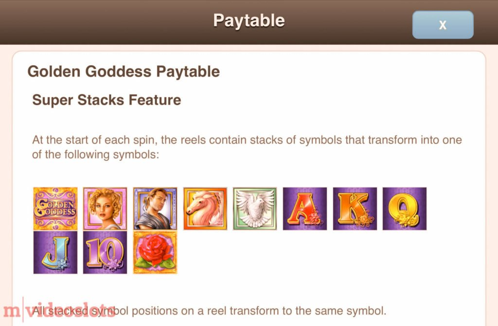 Golden Goddess IGT mobile video slot paytable #1