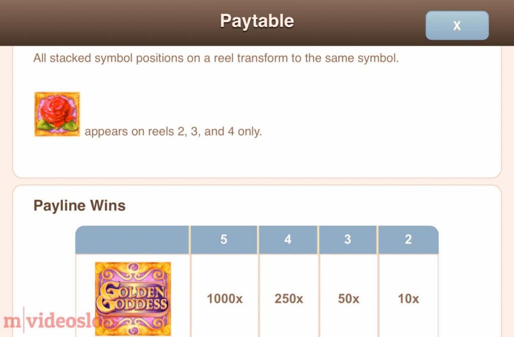 Golden Goddess IGT mobile video slot paytable #2