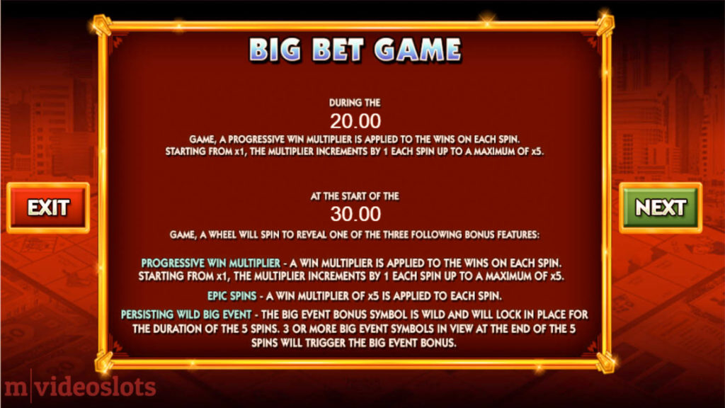 Monopoly Big Event WMS mobile video slot paytable #3
