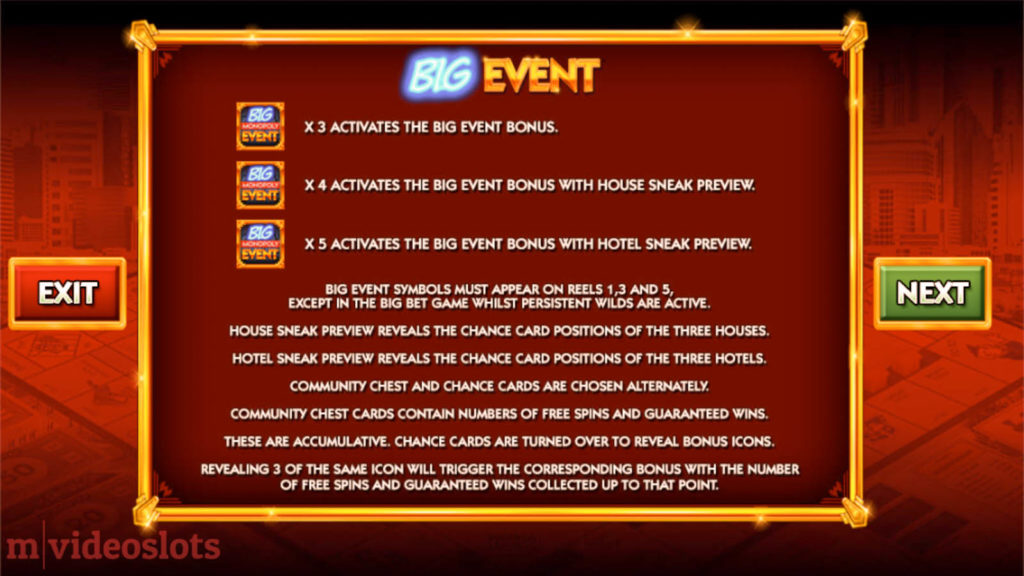 Monopoly Big Event WMS mobile video slot paytable #5