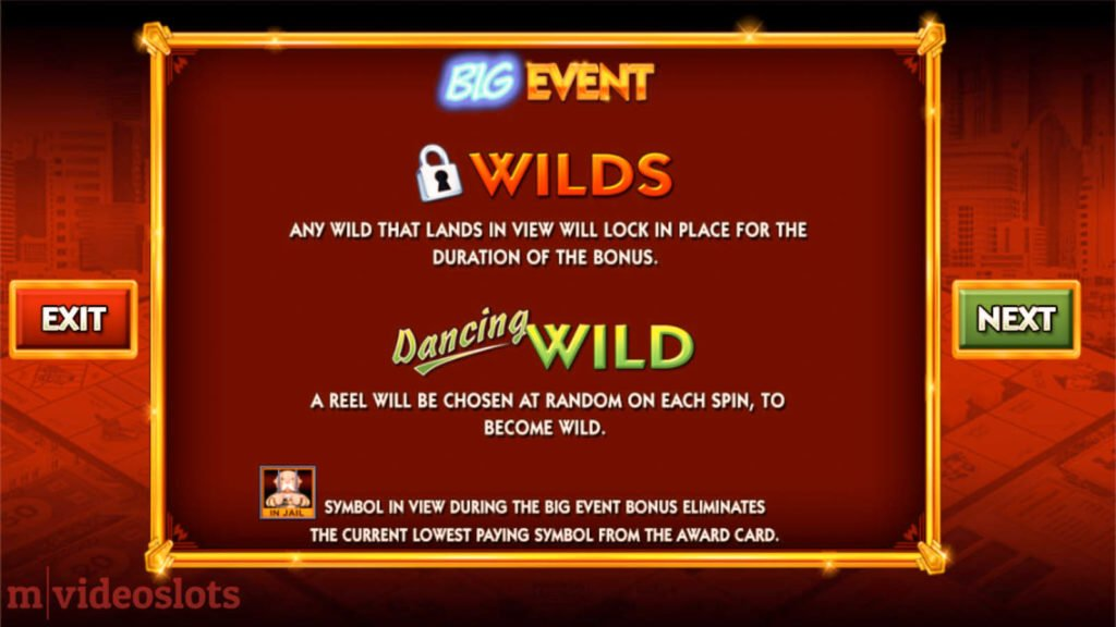 Monopoly Big Event WMS mobile video slot paytable #6