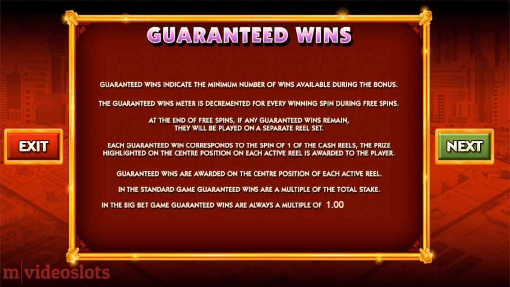 Monopoly Big Event WMS mobile video slot paytable #7