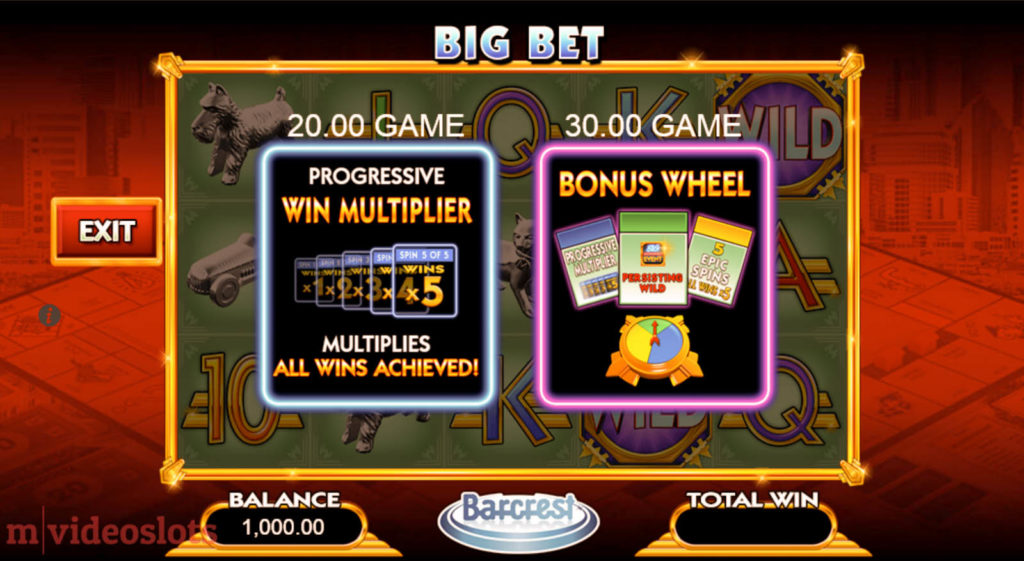 Monopoly Big Event WMS mobile video slot Big Bet feature