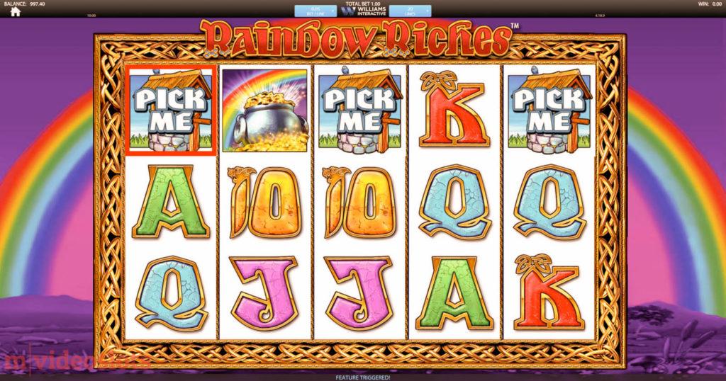 Rainbow Riches Wishing Well picking bonus.