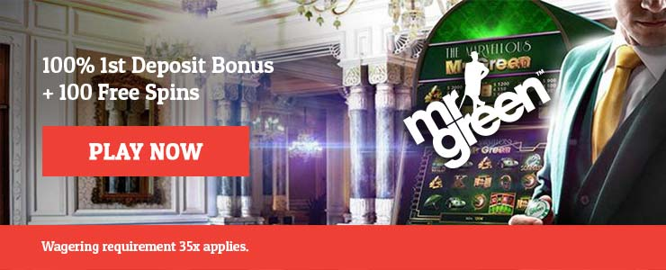 £/$/€ 100 Welcome Bonus + 100 Free Spin at Mr Green.