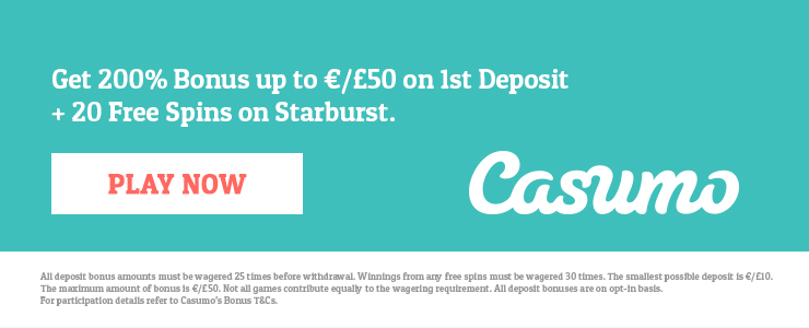 200 Free Spins + £1,200 Match Bonus at Casumo casino.