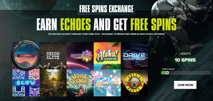 Get 10 free spins on Guns N' Roses for 20 Echoes.