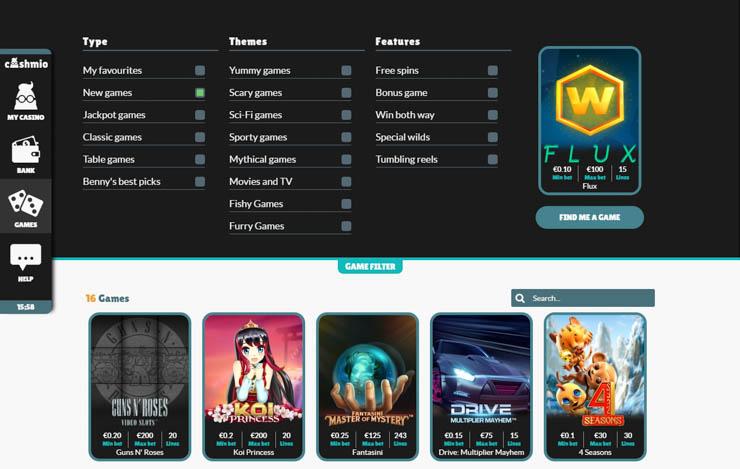 Cashmio mobile casino games and filters.