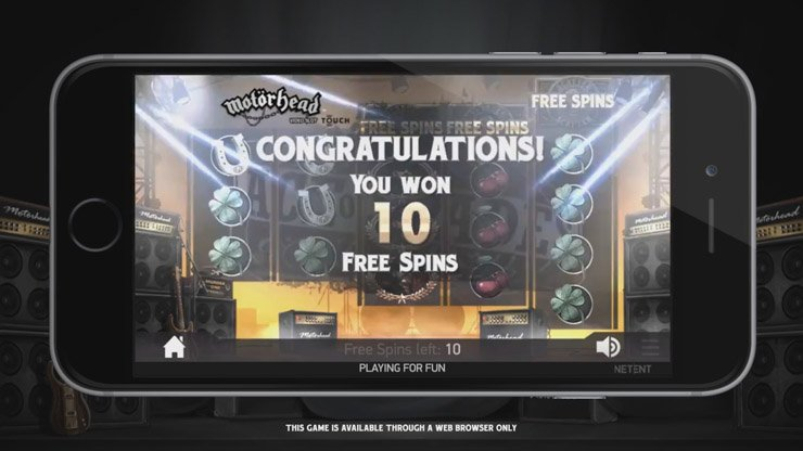 Motörhead Free Spins bonus with stacked Wilds.
