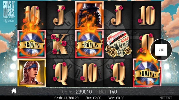 Guns N' Roses mobile slot Bonus Wheel feature for 3x Scatter.
