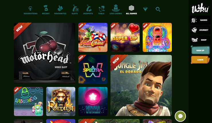Ikibu mobile casino games and lobby.