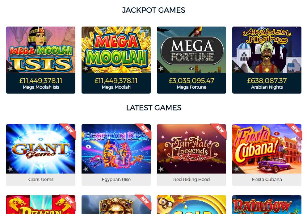 Casinopop games lobby and jackpots.