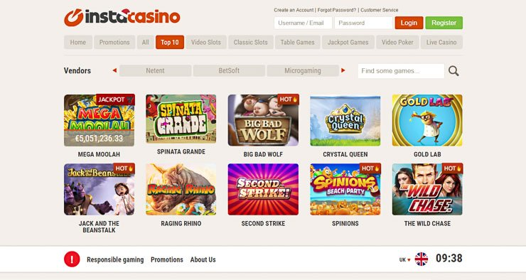 InstaCasino slots, table games, live casino and jackpots.