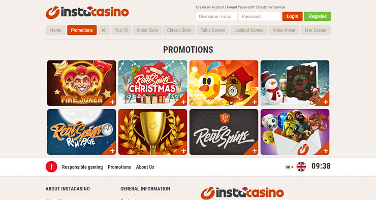 InstaCasino bonuses and wagerless RealSpins.