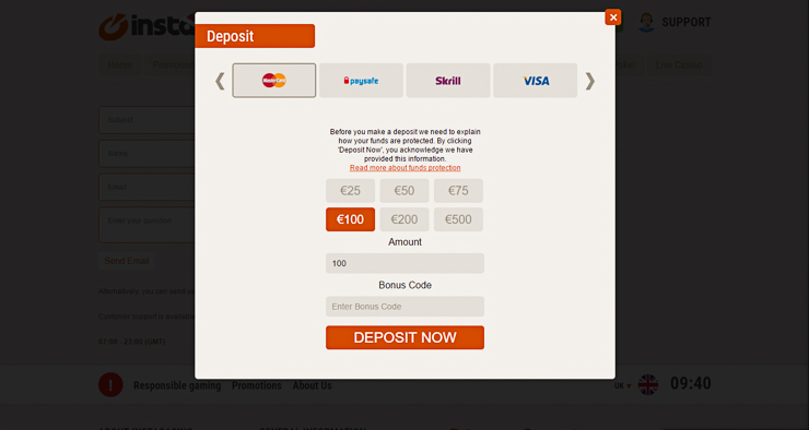 InstaCasino payments and banking.