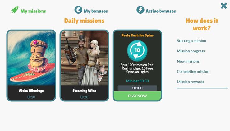 Cashmio mobile casino missions.