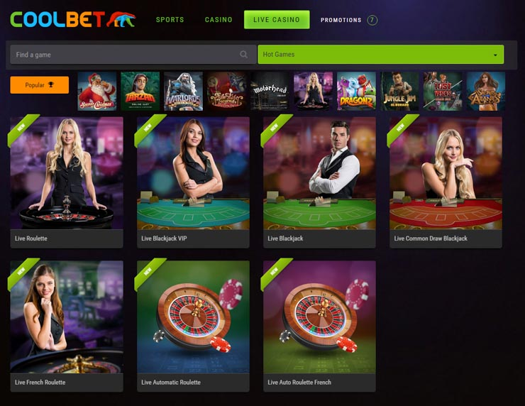 Coolbet Live Casino lobby.