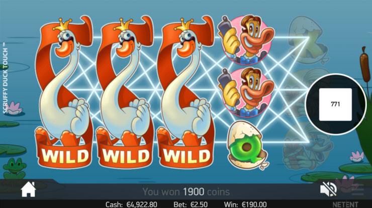 Scruffy Duck's Expanding Wild symbols.