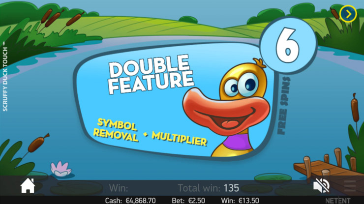 Scruffy Duck Double Feature Free Spins bonus.