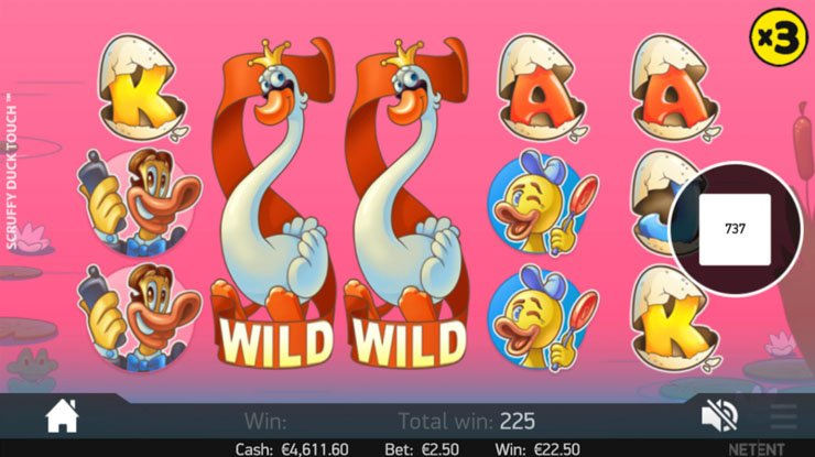 Scruffy Duck slot x3 Multiplier Feature in Free Spins.