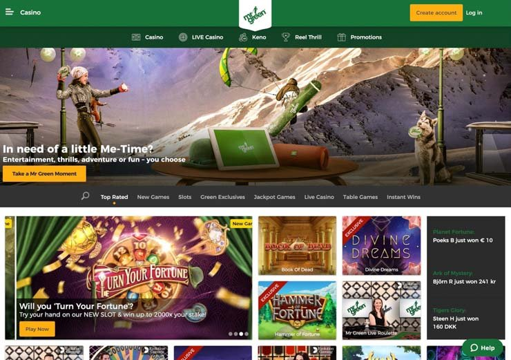 Mr Green online casino.