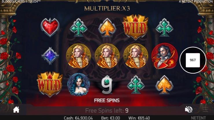 Blood Suckers 2 Free Spins bonus with tripling wins.