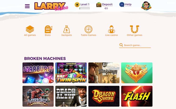 Larry mobile casino lobby.