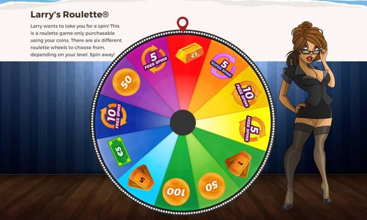 Larry's Roulette with numerous rewards.