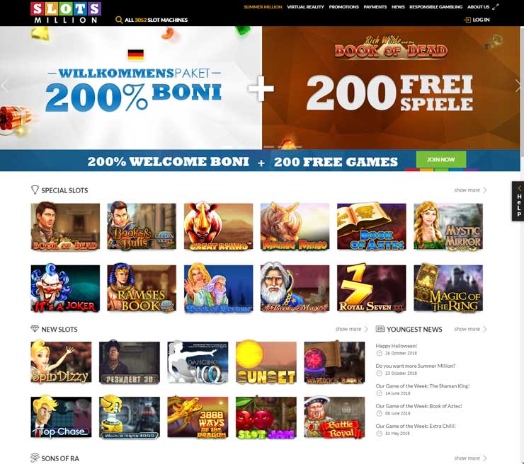 SlotsMillion German home page.