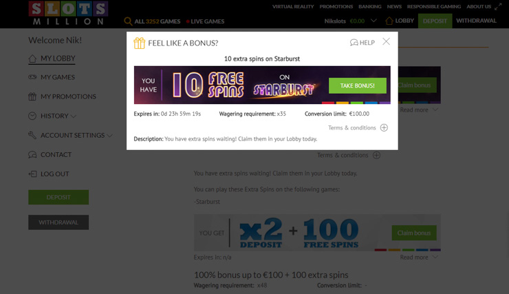 Get 10 Free Spins on Starburst on registration.