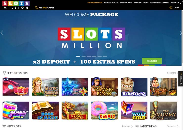 SlotsMillion online casino home page.