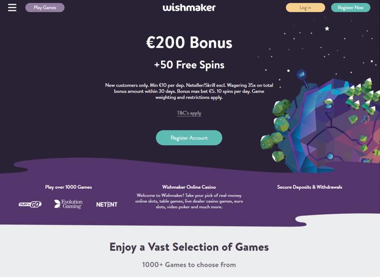 Wishmaker online casino.