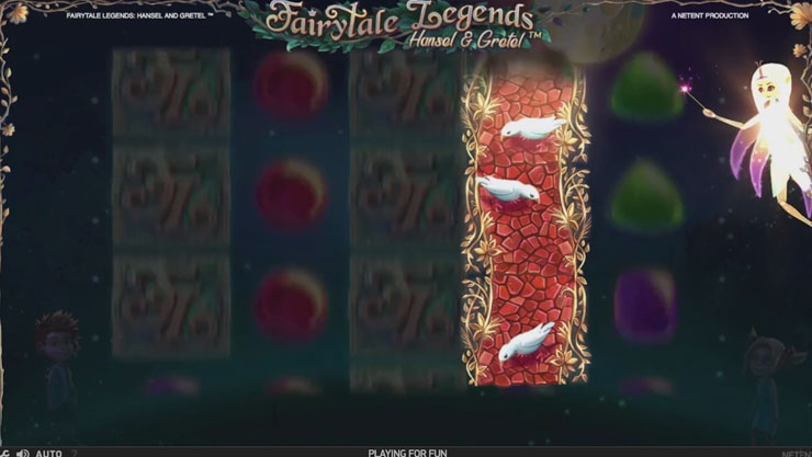 Hansel & Gretel mobile slot Fairy Wild Spins feature.