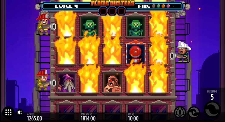 Fire Busters slot Free Spins Bonus with Coin Ignition Feature.