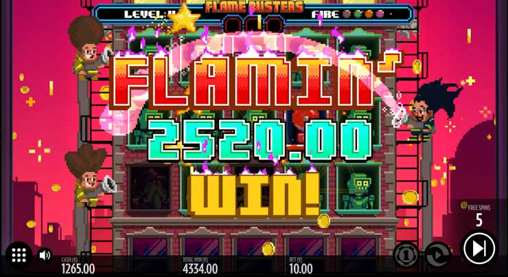 Flamin' Win in Fire Busters slot by Thunderkick.