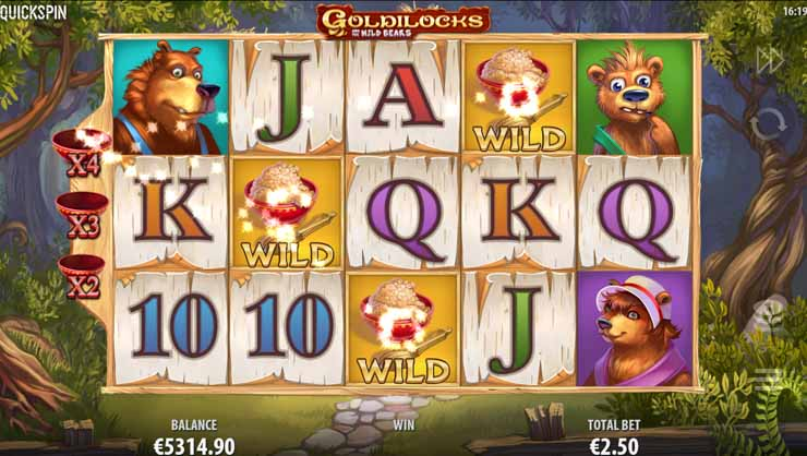 Goldilocks and the Wild Bears Multiplier Wilds feature.