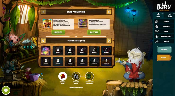 Ikibu's new Shop where you can trade Seeds for Free Spins and bonuses.