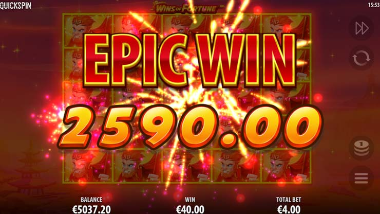 Play Wins of Fortune Quickspin slot.